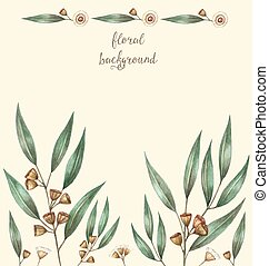aquarelle, eucalyptus, feuilles