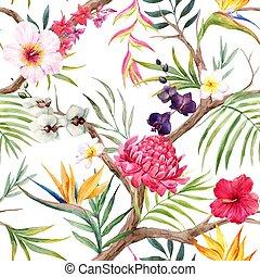 aquarelle, exotique, vecteur, modèle floral