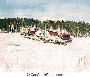 aquarelle, finlande, village