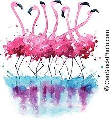 aquarelle, flamants rose, peinture