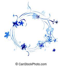aquarelle, fleurs, cercle