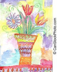 aquarelle, fleurs, enfants, dessin