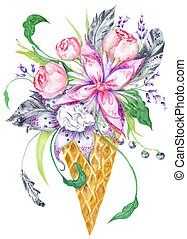 aquarelle, fleurs, gaufre,  Illustration, tasse