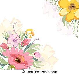 aquarelle, fleurs, lis, fond