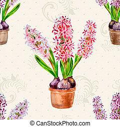 aquarelle, fleurs, maison,  seamless,  texture