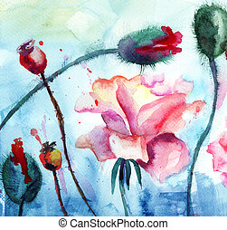 aquarelle, fleurs, pavot, peinture, roses