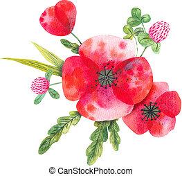 aquarelle, fleurs sauvages, composition