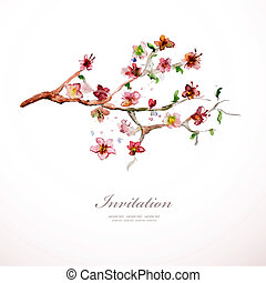 aquarelle, fleurs, ton, design.
