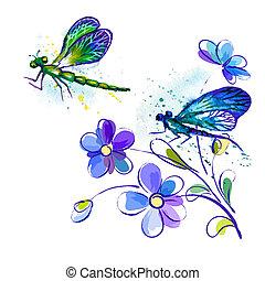 aquarelle, fleurs, vecteur, fond, libellules