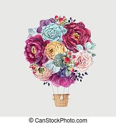 aquarelle, floral, air, vecteur, baloon