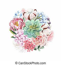 aquarelle, floral, composition