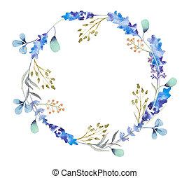 aquarelle, floral, fleurs, frame., wreath.