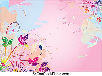 aquarelle, floral, fond