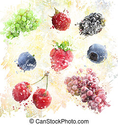 aquarelle, fond, fruits