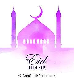 aquarelle, fond, mubarak, eid