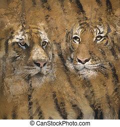 aquarelle, fond, tigre
