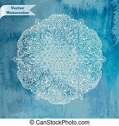 aquarelle, fond, vecteur, flocon de neige