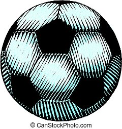 aquarelle, football, croquis, balle, encre