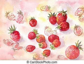 aquarelle, fraise, fond