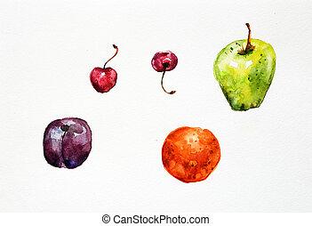 aquarelle, fruit, peinture