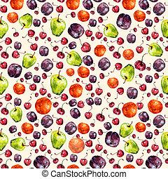 aquarelle, fruit, seamless, texture