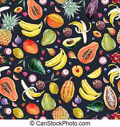 aquarelle, fruits exotiques, modèle