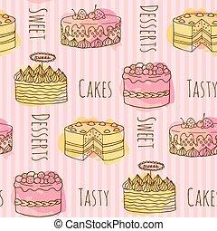 aquarelle, gâteaux, ensemble, illustration., coloré, pattern., seamless, main, splashes., vecteur, 4, gâteau, dessiné