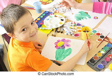 aquarelle, garçon, peinture