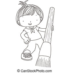 aquarelle, girl, coloration, brosse, illustration