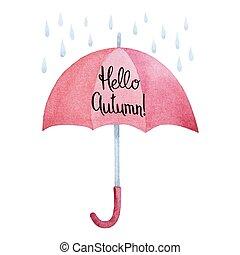 aquarelle, gouttes, parapluie, rouges, pluie