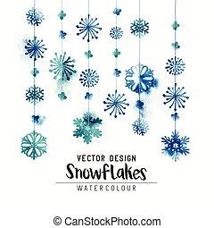 aquarelle, hiver, flocons neige