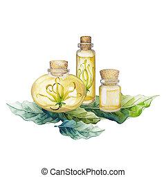 aquarelle, huile, ylang