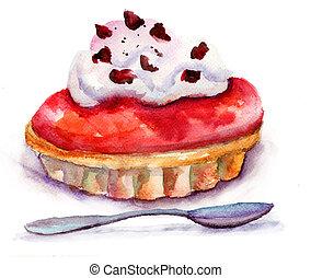 aquarelle, illustration, gâteau