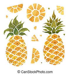 aquarelle, illustration., pineapple.