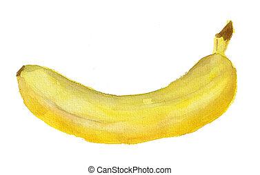 aquarelle, image, banane