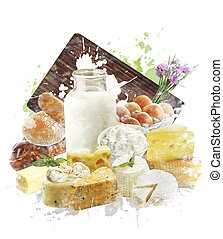 aquarelle, image, de, produits laitiers