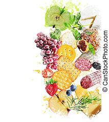 aquarelle, image, de, snacks sains