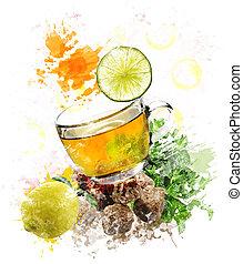 aquarelle, image, de, thé vert