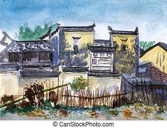 aquarelle, jiangxi, porcelaine, village