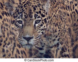aquarelle, léopard, fond