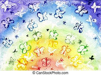 aquarelle, les, papillon, dans, les, formulaire, de, a, arc-en-ciel