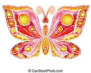 aquarelle, les, papillon