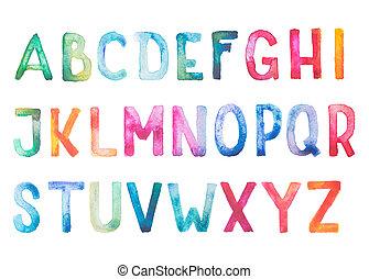 aquarelle, letters., színes, szórakozottan firkálgat, ábécé, abc, betűtípus, vízfestmény, kézírásos, kéz, gépel, rajzol