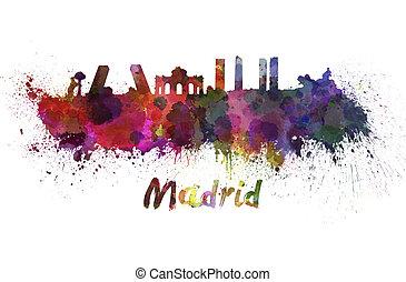 aquarelle,  Madrid, Horizon