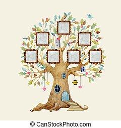 aquarelle, maison, vecteur, arbre, cadres