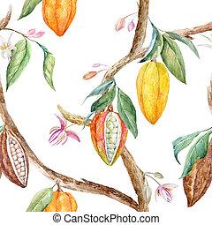 aquarelle, modèle, cacao