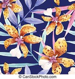 aquarelle, modèle, exotique, vecteur, fleurs, orchidée