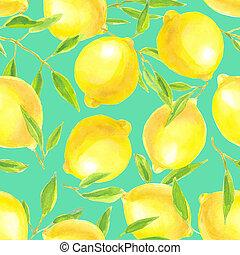 aquarelle, modèle, feuilles, citrons