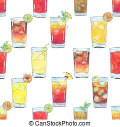 aquarelle, modèle, seamless, main, cocktails, fond, fruits, dessiné, blanc, baies