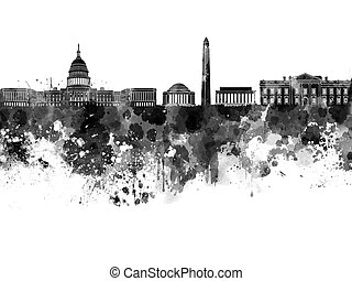 aquarelle, noir, horizon, washington dc